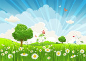 Summer vector landscape with trees and meadow of flowers eps1