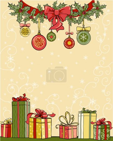 Illustration pour Fond de Noël avec des cadeaux avec espace pour le texte - image libre de droit