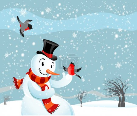 Snowman and bullfinch