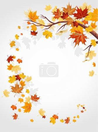 Illustration pour Feuilles d'automne tourbillonnent avec espace pour le texte - image libre de droit