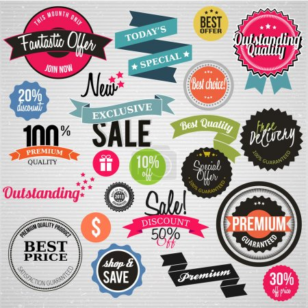 Illustration for Vector premium product labels and icons - Royalty Free Image