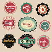 Set of vector premium bakery sweets labels and elements