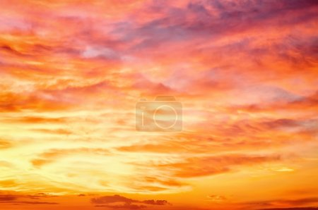 Fiery orange sunset sky