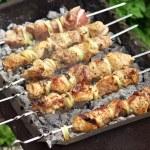 Постер, плакат: Pork Shish kebab on Fire Appetizing fresh meat shish kebab prep