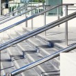 Stainless steel handrails are installed on the wal...