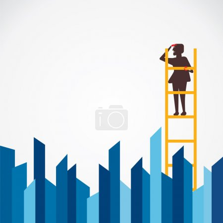 Businessmen climb on ladder and search
