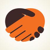 Abstract hand shake symbol vector