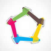Hand join team work or support each other vector
