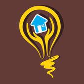 Home symbol in bulb stock vector