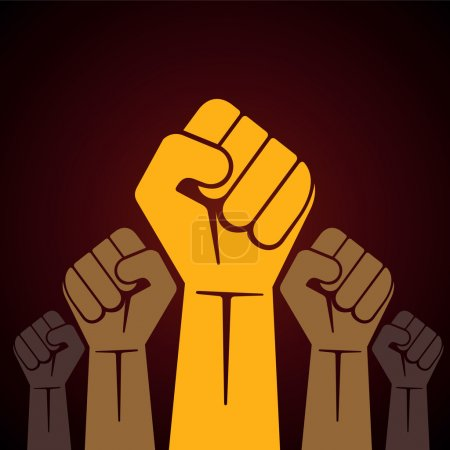 Illustration for Clenched fist held in protest vector illustration - Royalty Free Image