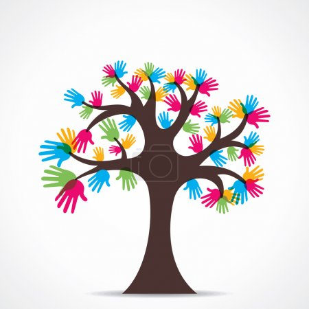 Colorful hand tree vector