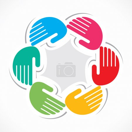 Colorful hand arrange in round manner vector