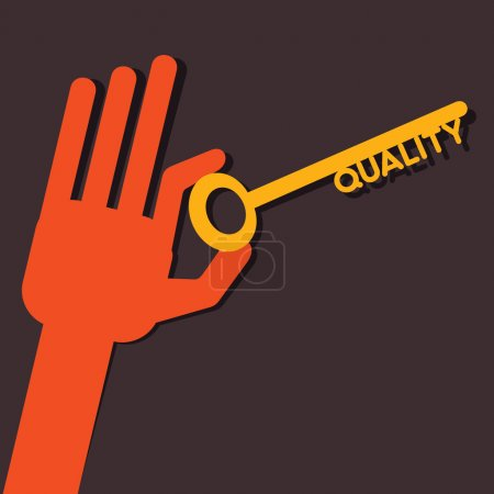 Illustration for Quality key in hand stock vector - Royalty Free Image