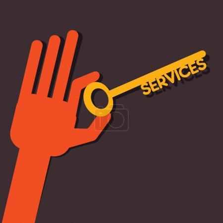 Illustration pour Vector stock en main clé de services - image libre de droit