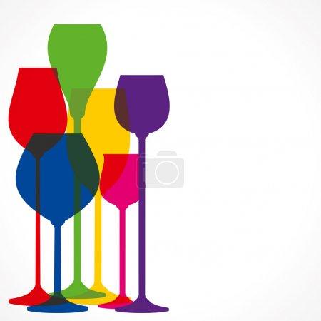 Illustration pour Vecteur de verre de vin de forme différente colorée - image libre de droit