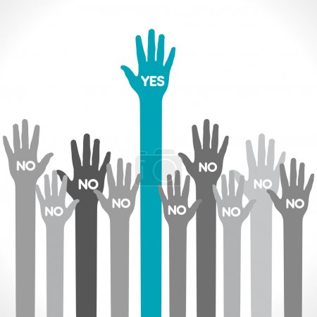 Only one hand say yes background vector