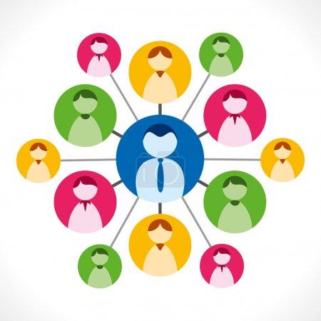 Illustration pour Concept de leadership, réseau de personnes colorées, connexion de personnes, vecteur de réseau social - image libre de droit