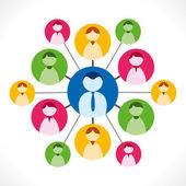 Leadership concept colorful people network  people connection social network vector