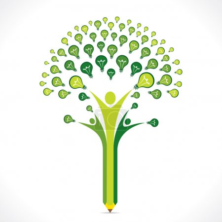 Illustration for Green bulb or idea pencil tree design vector - Royalty Free Image