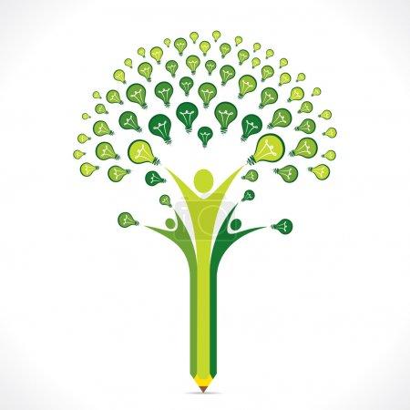 Illustration pour Ampoule verte ou idée crayon arbre vecteur de conception - image libre de droit