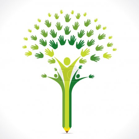Illustration for Creative kids pencil hand tree design for support or helping concept vector - Royalty Free Image
