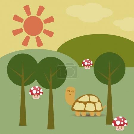 Illustration pour Tortue et champignons dans la forêt . - image libre de droit