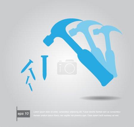 Illustration pour Marteau avec des clous icône vectorielle - image libre de droit