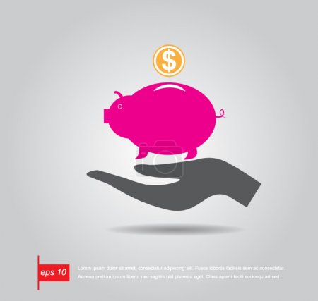 hand holding piggy bank vector icon