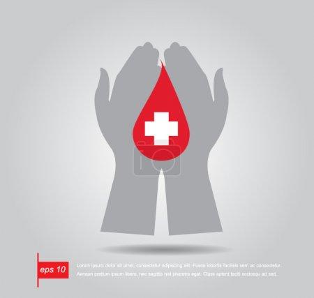 Illustration pour Main tenir pharmacie croix dans le sang rouge icône vecteur - image libre de droit