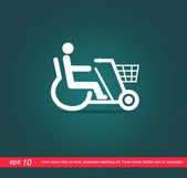 disabled on bicycle vector icon