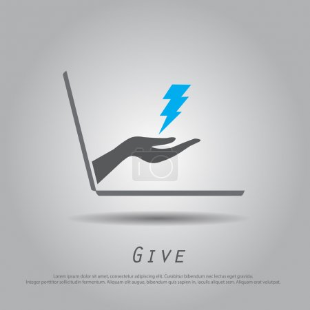 hand hold  thunder  from laptop vector icon