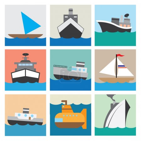 Boat icon set vector illustration eps10