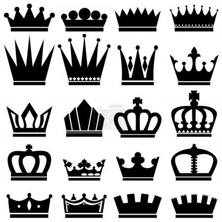 Illustration pour Icônes de couronne noire vectorielle réglées sur blanc - image libre de droit