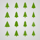 Set of Christmas tree vector illustration