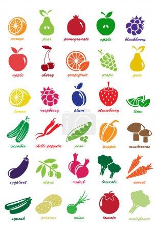 Illustration pour Coeur vecteur composé de fruits et légumes - image libre de droit