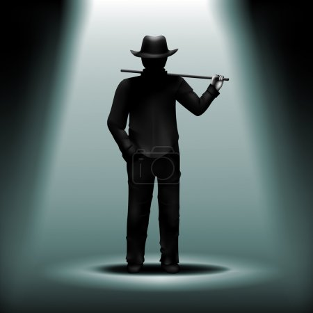 Illustration for Vector mystery silhouette of man with hat and walking stick under blue light - Royalty Free Image