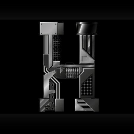 Illustration for Vector metallic alphabet letter H - Royalty Free Image