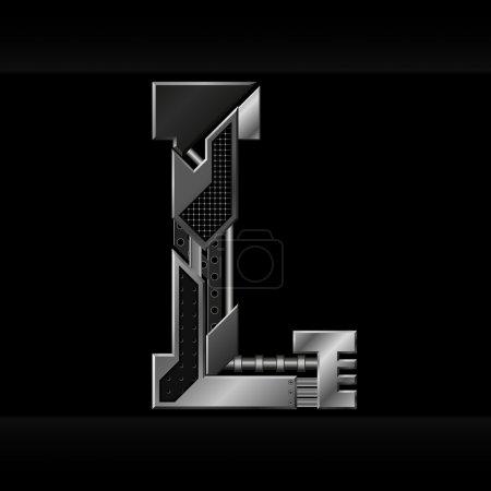 Illustration for Vector metallic alphabet letter L - Royalty Free Image