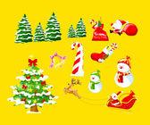 Veselé vánoční pozadí karta a v zimě