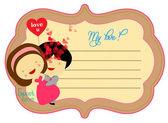 Sladká láska valentinky o popisku