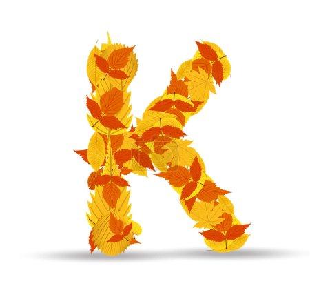 Vector autumn leaves font, letter K