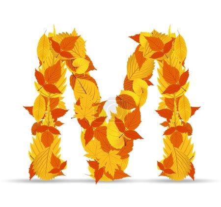 Vector autumn leaves font, letter M