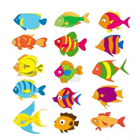 Illustration pour Famille de poissons drôles sous la mer - image libre de droit