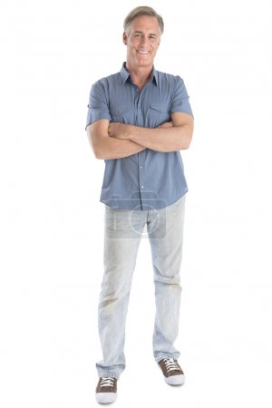 Man Standing Arms Crossed Against White Background