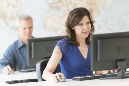 Mature Businesswoman Working On Computer At Office