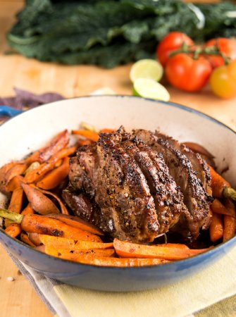 Oven Roasted Pork Shoulder in Enameled Pan with Carrots and Sweet Potatoes