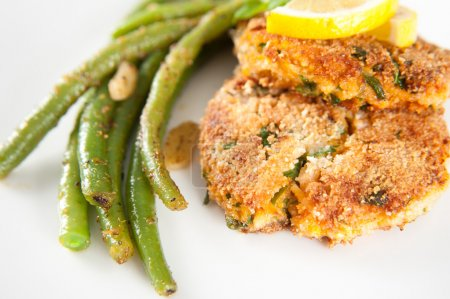 Salmon and Sweet Potato Cakes with Green Beans
