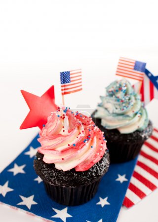 Patriotic Chocolate Cupcakes with Red and Blue Frosting for Independence Day