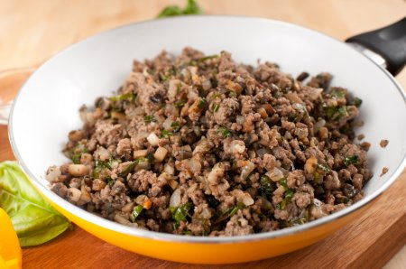 Ground Beef Fried with Mushrooms