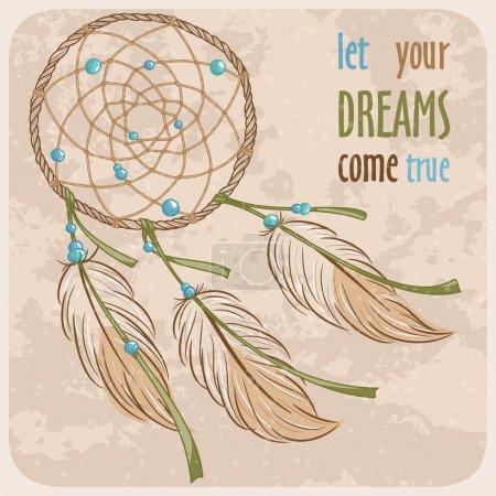 Photo pour Attrape-rêves. Objet de la culture amérindienne. Illustration vectorielle . - image libre de droit